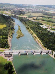 Barrage de Kembs à l'amont du Vieux-Rhin